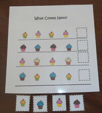 Cupcake themed What Comes Next laminated preschool child learning game for child