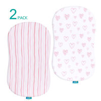 Bassinet Sheets 100% Jersey Knit Cotton Fitted Sheets for Baby Girls Pink 2 Pack