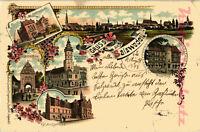 AK Salzwedel, Litho,Total,Rathausturm,Amtsgericht, Kgl.Gymnasium,1898, 22/11