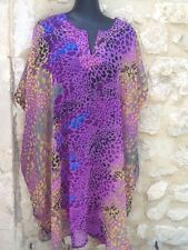 Kaftan caftan tunique robe plage piscine violet bleu noir jaune neuf M L XL XXL