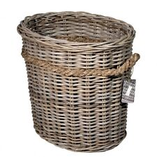 GREY RATTAN OVAL LOG BASKET CHUNKY RUSTIC ROPE DETAIL STORAGE HOME LOGS TOYS