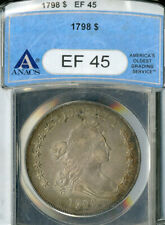 US Coin 1798 Early Draped Bust Silver Dollar ANACS EF45 NO RESERVE!