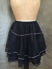 "BLACK TUTU SKIRT Satin Ribbon TIERS LACE 27"" to 40"" Waist Womens Medium Large"
