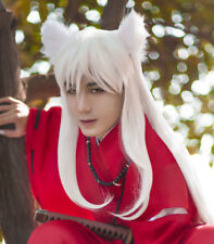 Inuyasha 100cm Long Straight Pure White Heat Resistant Hair Cosplay Wig + Cap