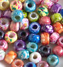 Rainbow Color Mix Crow Roller Beads, Glass Pony Beads 9mm 50pc, Tie Dye Picasso