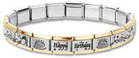 Italian Charm Bracelet Happy Birthday 9mm Stainless Steel Laser Links Gold Trim
