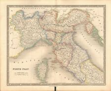 1843 ANTIQUE MAP- DOWER - NORTH ITALY WITH CORSICA