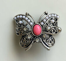 Butterfly Nipple Shield Ring Gem Detailed 14g Stainless Steel Bar Body Jewelry