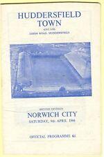 Football programme - Huddersfield Town v Norwich City - Div 2 - 9/4/1966