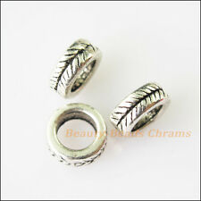 40Pcs Antiqued Silver Tone Tiny Round Circle Leaf Spacer Beads Charms 7mm