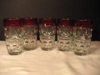 "Indiana King's Crown Ruby Flash Thumbprint (5) 5 1/2"" Highball Water Tumblers"