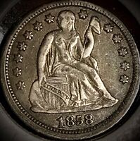 1858 P Silver Seated Liberty Dime