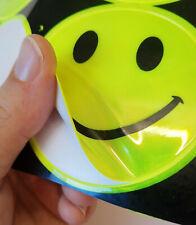 4 Reflektoren Sticker Smiley groß starke Klebkraft Aufkleber Kinder Sicherheit