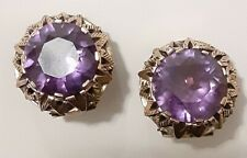 Ornate Antique Stamped 9K 375 Yellow Gold & Faux Alexandrite Earrings 11.9 Grams