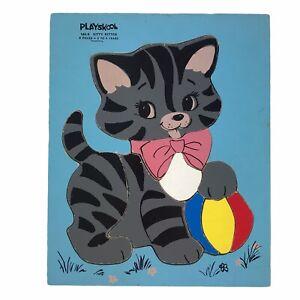 Vintage Playskool Children Wooden Jigsaw Puzzle Kitty Kitten 9 Pieces 165-6