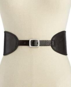 INC Women's Black Non Leather Reversible Shaped Waist Belt Size L / XL