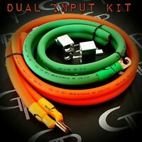 1/0 AWG GAUGE OFHC DUAL INPUT TERMINAL AMP KIT GP CAR AUDIO WIRING ORANGE GREEN