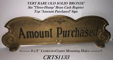 """Very Rare Old Small """"Three-Hump Brass Nat'l. Candy Store Cash Register Top Sign"""