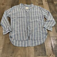 American Eagle Oversized Womens Size Large Striped Button Up Blue White Top