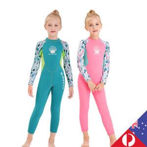 Kids 2.5mm Long Sleeves Wetsuit Snorkeling Surfing Keep Warm Diving Suit AU