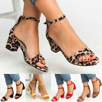 Women Chunky Block Med Heels Ankle Strap Sandals Party Leopard Print Shoes New