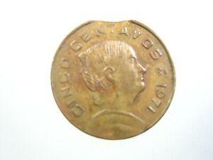 Mexico Mint Error Rim Clipped Planchet 5 Centavos 1971 374# Money Coin