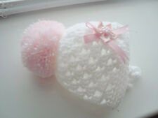 baby girl white crochet hat tiny baby 2-3 lb  pink pom flower hand made FREE P&P
