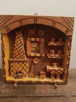 Vintage Handmade Wood 3D Rustic Folk Art   Diorama Kitchen & Fireplace Scene