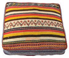 Orient Kelim Pouf Bodenkissen Sitzkissen 100% Wolle 70 x 70 x 15 cm inkl Füllung
