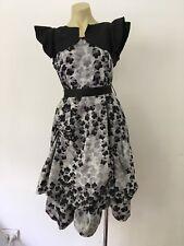 Vintage 1950s Mad Men Look Coxktail Dress Midi Length Silk 12-14