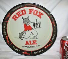 American Metal Red Fox Ale Beer Tray Waterbury Ct U.S.A. Brewery Bar Art Bottle