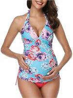 Women Halter Maternity Tankini Swimsuit Floral Pregnancy Plus, Blue, Size Medium
