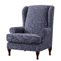 Wingback Chair Slipcover 2Piece Jacquard Damask Elastic Spandex Wing Chair Cover