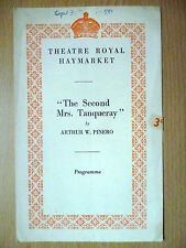 .1950 Theatre Royal Haymarket Programme: THE SECOND Mrs.TANQUERAY by Arthur W. P