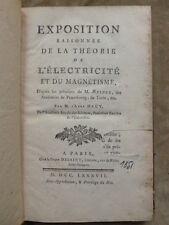 EXPOSITION RAISONNEE DE LA THEORIE DE L'ELECTRICITE ET DU MAGNETISME. ABBE HAÜY