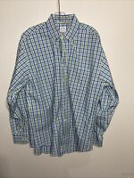 Brooks Brothers REGENT Blue/Green Gingham Men Button Down Shirt Large