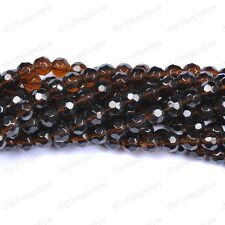 30pcs Coffee Quality Czech Glass Faceted Round Ball Spacer Loose Beads 6MM