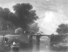 HORSE WAGON CART on WOOD BRIDGE over River ~ 1849 LANDSCAPE Art Print Engraving