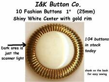 """10 Shiny Cream-White and Gold Fashion Buttons ~1"""" (25mm) available in Bulk"""