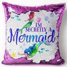 Mermaid Sequin Cushion Cover Pink Magic Reveal Girls Birthday Gift KC72
