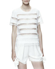 CHLOE NEW White Eyelet Striped Cotton T Shirt Short Sleeve Cut Out Blouse Top S