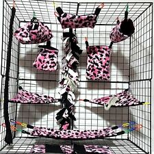 Pink Leopard Skin *15 PC Sugar Glider Cage set *Rat * double layer Fleece