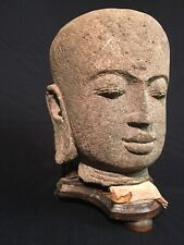 Ancient Chinese Gandhara Large Buddha Carved Stone head From Statue 200-500 AD