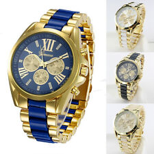 Men Luxury Classic Quartz Analog Gold Dial Stainless Steel Bangle Wrist Watch