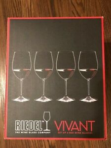 RIEDEL Vivant Red Wine Glasses - Pack of 4 ( Open Box) Never used