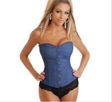 cb2c876c00b Jeans Corselet Plus Size Women Clothing Sexy Blue Denim Corset With Lace  Corset