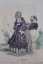 GRAVURE COULEURS LA MODE-OLD FASHION PRINT XIXe SIECLE COSTUME MD130