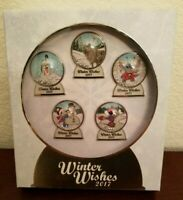 Disney Parks Winter Wishes Snowglobe Pin Set Limited Edition 1000 Mickey, Minnie
