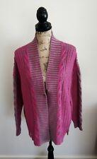 Pink & mauve cotton angora blend boho cardigan by Loobies Story, Sz 14, NWOT