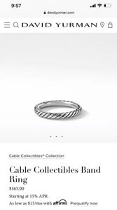 David Yurman Cable Stacking Ring Sterling Silver Size 7